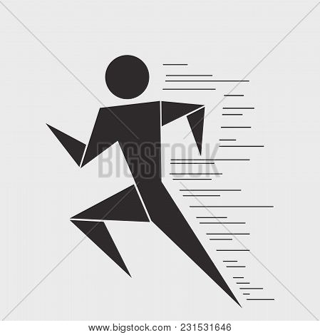 Running Man. Vector Graphics. Graphic Modern Illustration. Stylish Design.