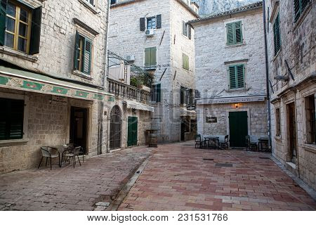 Kotor, Montenegro - September 26: Street In The Old Town With A Restaurant And Cafe In Autumn In The