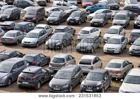 Vilnius, Lithuania - April 15, 2018: Car Parking In Vilnius On April 15, 2018. Vilnius Is The Capita
