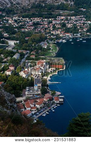 Kotor, Montenegro - September 26: View From The Top Of The City To The Houses Water Yachts In The Eu