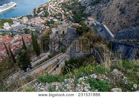 Kotor, Montenegro - September 26: View From The Top Of The City To The Houses In The European Day Of