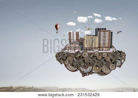 Mini city design . Mixed media