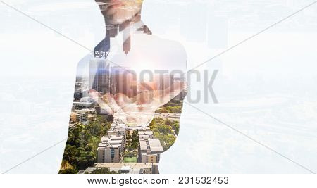 Businessman with opened palm