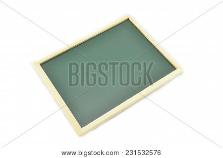 Image Of Green Chalkboard On White Background