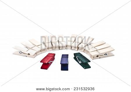 Image Concept Leadership Focus On Green, Red And Blue Clothes Clip In Front