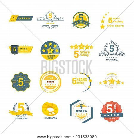 Set, Collection Of Various Design Elements In The Form Of A Rating. Rating And Reviews With Five Sta
