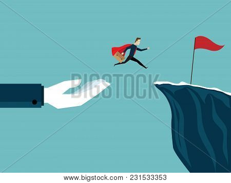 Illustration Of Big Hand Help Businessman Jump To Red Flag At Cliff Business Concept
