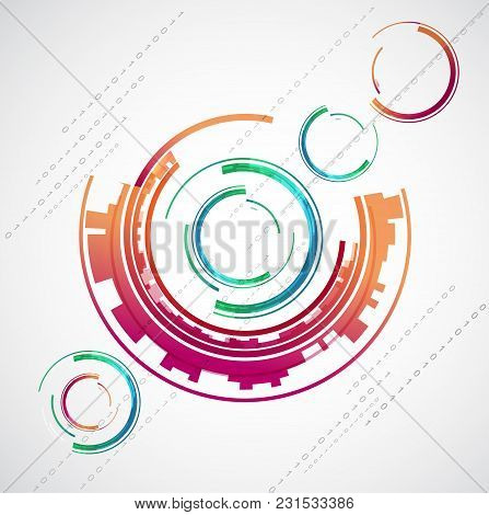 Abstract Color Technology Themed Circles Background. Vector