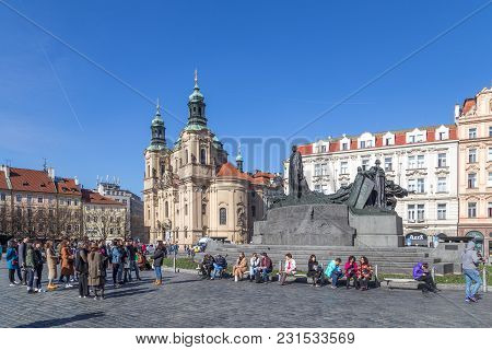 Prague, Czech Republic - March 16, 2017: Tourists On Old Town Square In The Historic City Centre
