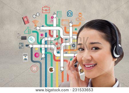Digital composite of customer care concept
