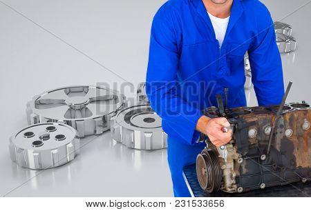 Digital composite of mechanic fixing engine