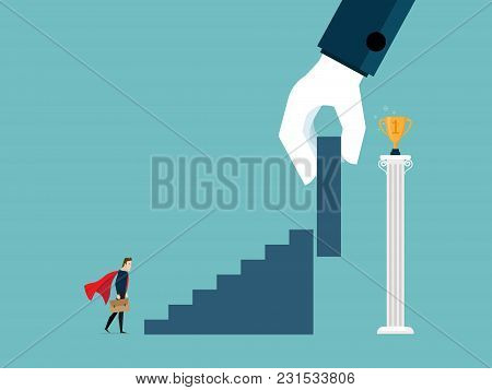 Illustration Of Businessman With Big Support Hand Put Stairs To Gold Trophy On Pillar Business Conce