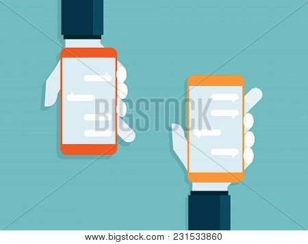 Illustration Of Human Hands Holding Smartphone With Messaging
