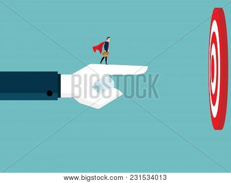 Illustration Of Businessman With Big Healping Hand Pointing To Target Business Teamwork Concept