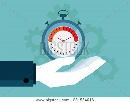 Illustration Of Human Hand Holding Stopwatch And Cog Gear Wheels Background, Time Management Concept