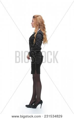 side view. young business woman