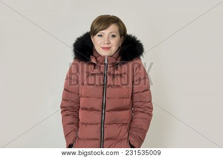 Young Read Hair Attractive And Sweet Woman 20s Or 30s Posing Isolated Wearing Warm Winter Jacket Wit
