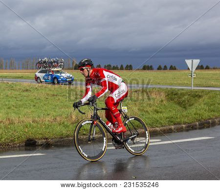 Cernay-la-ville, France - March 5, 2017: The Belgian Cyclist Dimitri Claeys Of Cofidis Team Riding O