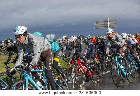Cernay-la-ville, France - March 5, 2017: The Colombian Cyclist Jarlinson Pantano Of Trek-segafredo T