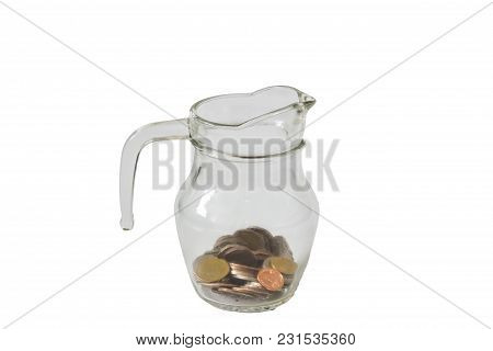 Save Money, Putting Coin Into Glass Of Bottle
