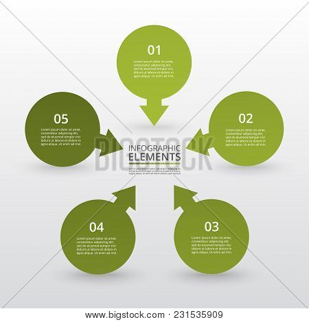 Abstract Infographic Template With 5 Steps For Success. Business Circle Template With Five Options F