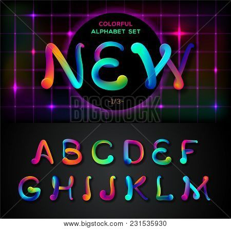 Colorful Dynamic Liquid Ink Alphabet. Color Mixing Thick Oil Paint Font In Style 80s. Neon Rainbow A