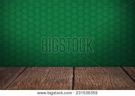 Digital composite of Patrick's day wallpaper above table