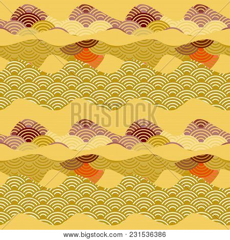 Seamless Pattern Simple Nature Background With Chinese Wave Circle Brown Beige Ocher Violet Red Yell