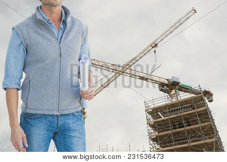 Digital composite of construction torso
