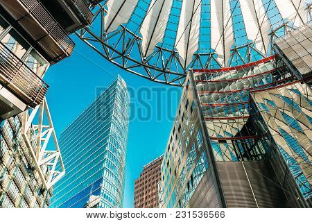 Berlin Germany - April 28 2017; Overhead Architectural Canopy Detail Sony Center Courtyard And Mall