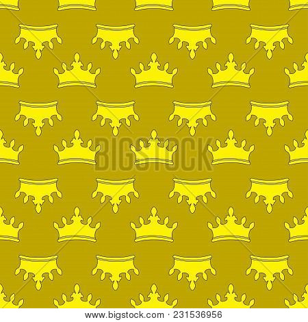 Seamless Gold Crown Pattern Background. Vector Illustration