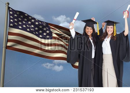 Digital composite of students against American flag