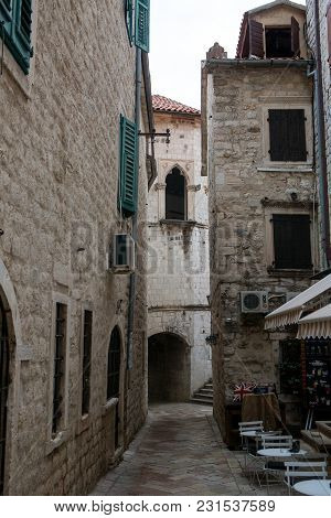 Kotor, Montenegro - September 25: Street In The Old Town With A Restaurant And Cafe In Autumn In The