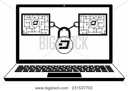 Dash Block Chain Technology On A Screen Laptop   ,disign Concept  Black And White With Security Lock
