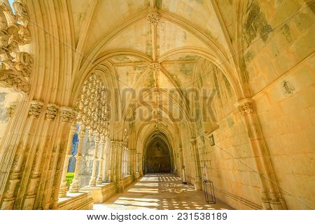 Batalha, Portugal - August 16, 2017: Corridor And Manueline Colonnade Of Royal Cloister At Monastery