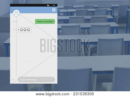 Digital composite of Social Media Messenger App Interface in class