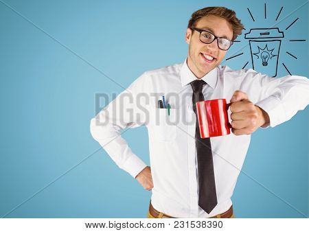 Digital composite of Business man with red mug and light bulb doodle against blue background