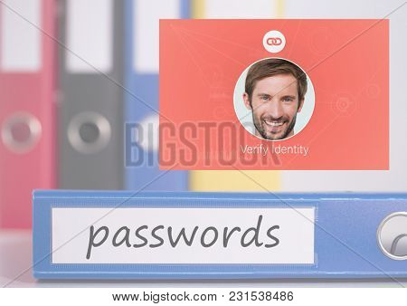Digital composite of Identity Verify passwords App Interface