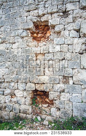 Bullet Holes In The Fortress Imperjal On The Mountain Sdr In Dubrovnik Croatia