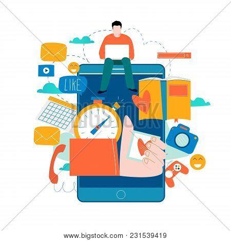 Mobile Application Development Process Flat Vector Illustration. Software Api Prototyping And Testin
