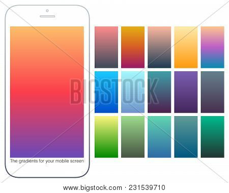 Soft Color Gradient Backgrounds Set. Modern Screens For Mobile App. Abstract Colorful Vector Gradien