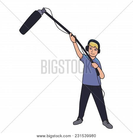 Sound Engineer, Journalist With A Microphone On A Long Stick. Cartoon Vector Illustration, Isolated