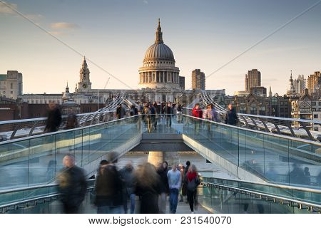 St Pauls Cathedral And The Millennium Bridge Landscape With Blurred Tourists