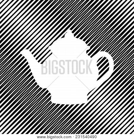 Tea Maker Sign. Vector. Icon. Hole In Moire Background.