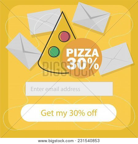Ecommerce Concept Order Fast Food Online. Subscribe To Newsletter Form - Vector Flat Cartoon Illustr