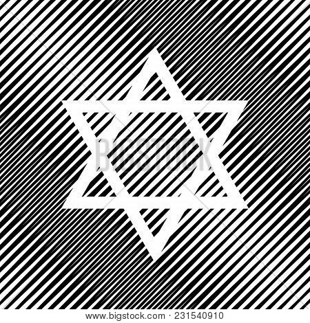 Shield Magen David Star. Symbol Of Israel. Vector. Icon. Hole In Moire Background.