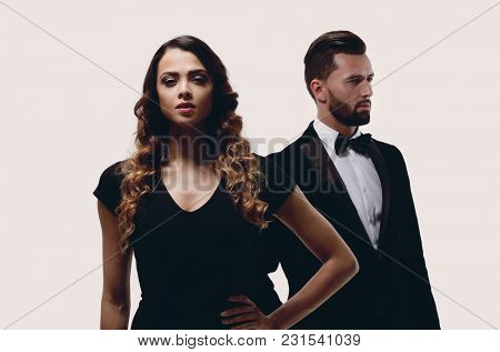 serious young business woman and stylish man