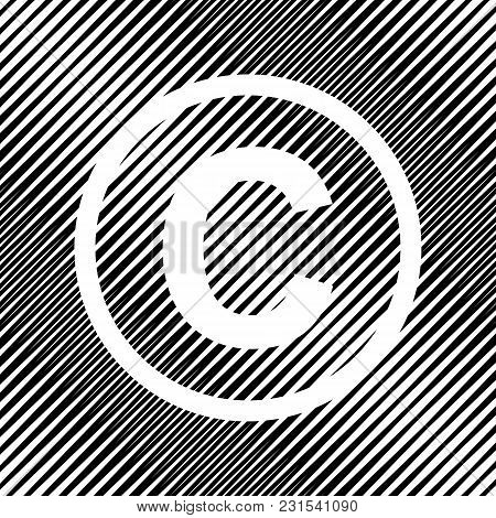 Copyright Sign Illustration. Vector. Icon. Hole In Moire Background.