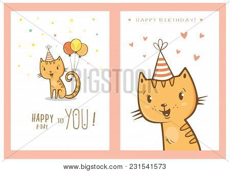 Birthday Cards Set With Cute Cartoon Cats. Balloons And Party Hats, Hearts And Confetti. Vector Cont