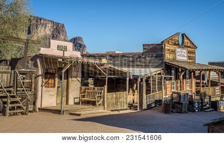 Goldfield, Arizona, Usa - May 17, 2016 : Old Jail And Bakery In Goldfield Ghost Town. Goldfield, Lat